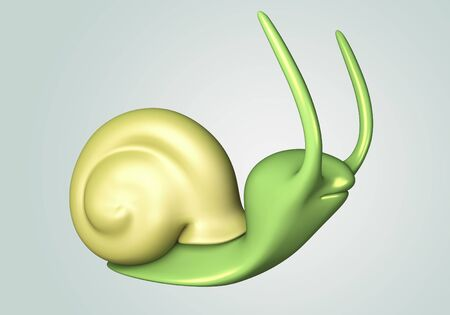 Green Snail model 3D Isolated on ground floor background. side view photo