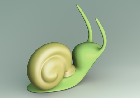 Green Snail model 3D Isolated on ground floor background. back view photo
