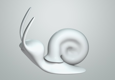white Snail model 3D Isolated on gray background. side view photo