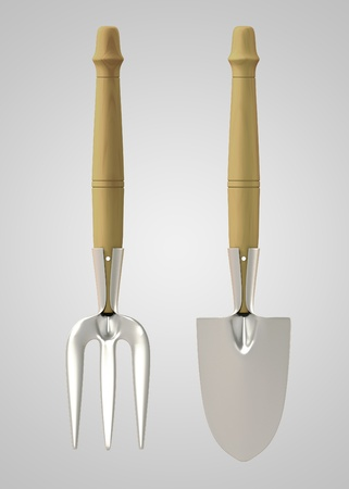home accessories: Tools Chrome Rack & Trowel back view on gray background. Isolated 3d model