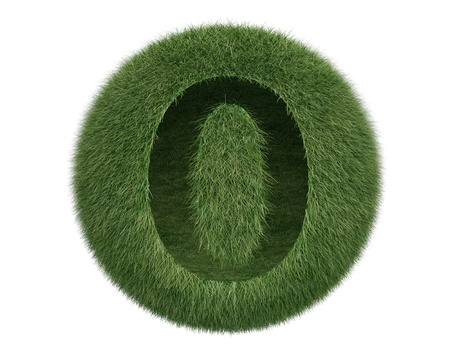 Grass Sphere number 0 on white background. Isolated 3d model photo