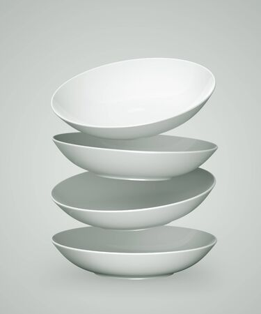 White Sphere Dish plate Float and Overlay on white background. Isolated 3d model photo