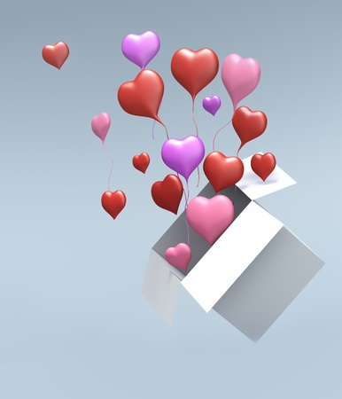Float up love Color Heart open box on gray background. Isolated 3d model Stock Photo - 11956333