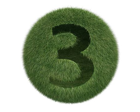 Grass Sphere number 3 on white background. Isolated 3d model photo