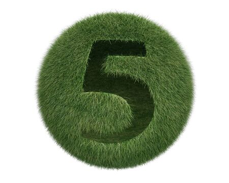 Grass Sphere number 5 on white background. Isolated 3d model photo