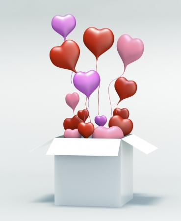 Float love Color Heart open box on gray background. Isolated 3d model