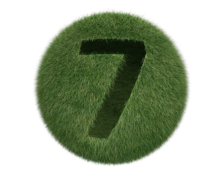 Grass Sphere number 7 on white background. Isolated 3d model photo