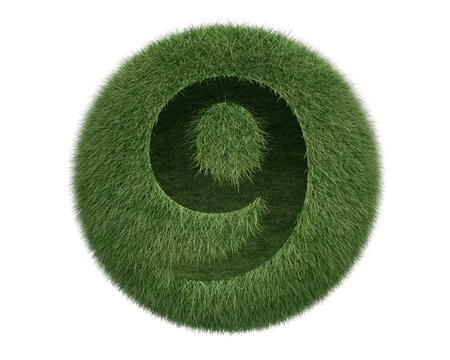 Grass Sphere number 9 on white background. Isolated 3d model photo