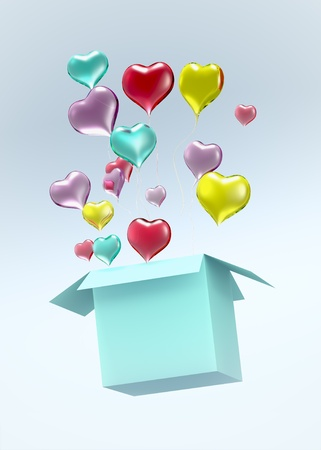Float up love Color Glass Heart open green Box on light blue background. Isolated 3d model photo