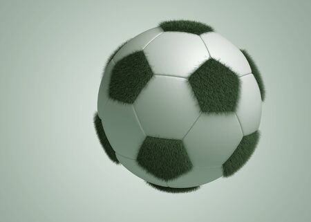 Football transform the Grass Sphere on gray background. Isolated 3d model photo