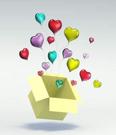 Float up love Color Glass Heart open Yellow Box on gray background. Isolated 3d model photo