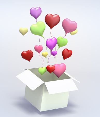valentin day: Float up love Color Heart open box on gray background. Isolated 3d model
