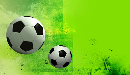 rotund: fun 2 football on texture green colors background. Isolated 3d model