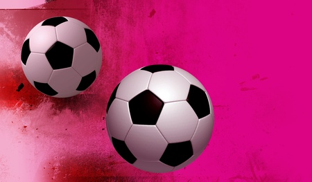 fun 2 football on texture fuchsia colors background. Isolated 3d model photo