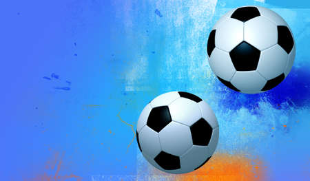 rotund: fun 2 football on texture blue colors background. Isolated 3d model Stock Photo