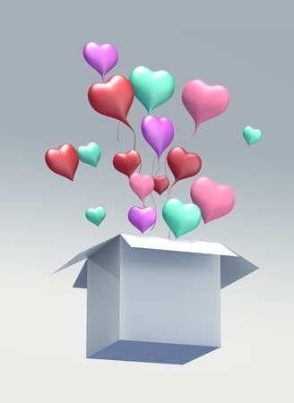 red winged: Float up love Color Heart open box on gray background. Isolated 3d model