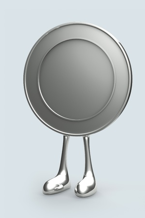 financed: 1 coin cartoon Stand Up on ground floor background. Isolated 3d model Stock Photo