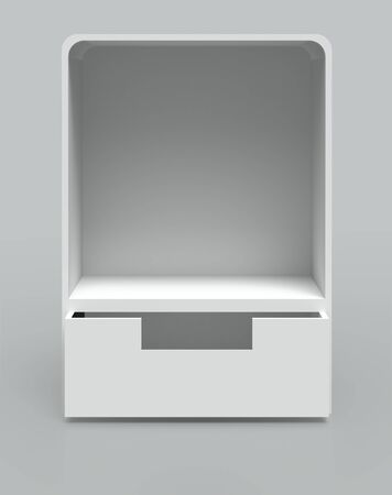 white Shelf Box Display on gray background. Isolated 3d model photo