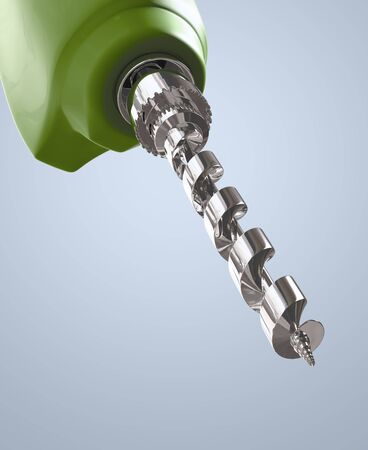 Electric Drill Green on gray background. Isolated 3d model photo