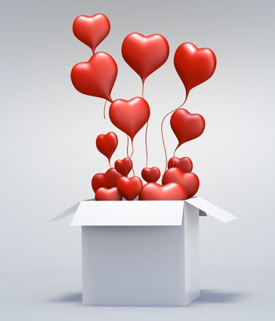 red winged: Float love Red Heart open box on gray background. Isolated 3d model Stock Photo