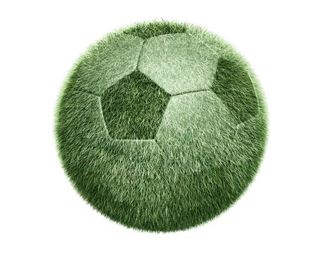 Ball transform the Grass Sphere on white background. Isolated 3d model photo