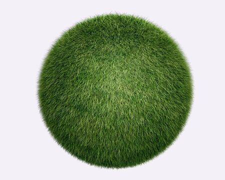 grass sphere on white background. Isolated 3d model photo