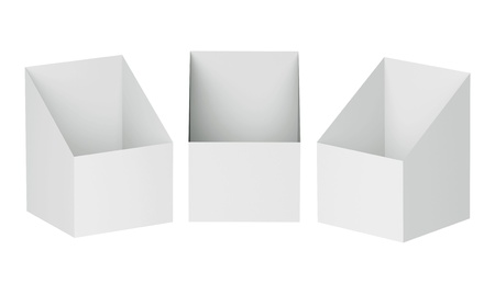 3D Shelf Box Display on a white background. Isolated  photo