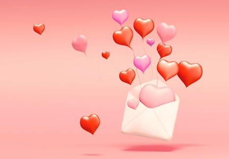 3D Concept of love mail on background. Isolated photo