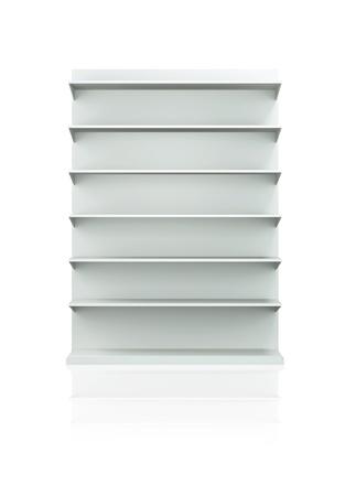 3D planken en plank voor wrap reclame op een witte achtergrond. Geïsoleerd Stockfoto