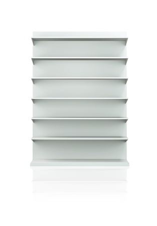 display stand: 3D shelves and shelf for wrap advertising on a white background. Isolated