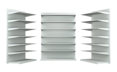 3D shelves and shelf for wrap advertising on a white background. Isolated