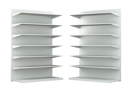 3D shelves and shelf for wrap advertising on a white background. Isolated  photo