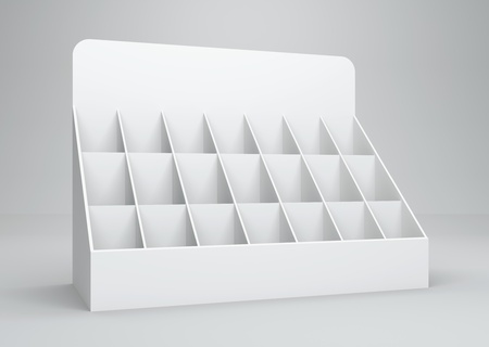 3D display card for wrap advertising on a white background. Isolated photo