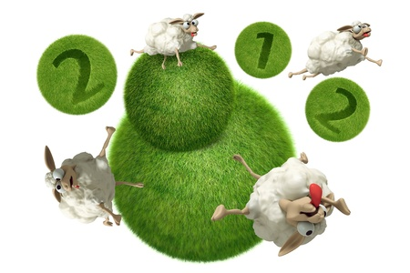 lambkin: 3D Cheep 2012 illustration on a white background, isolated