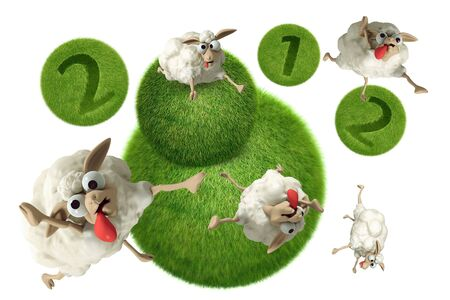 3D Cheep 2012 illustration on a white background, isolated illustration