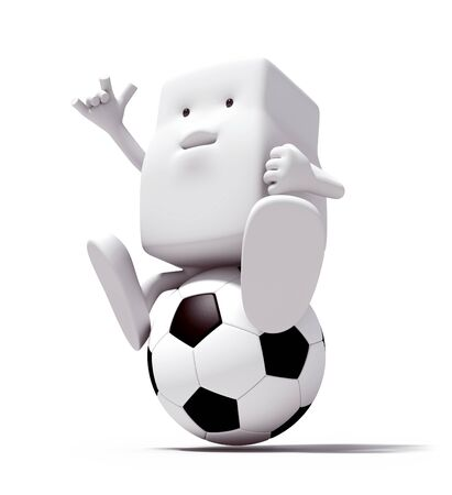 3d character person of play soccer on a white background. Isolated  photo