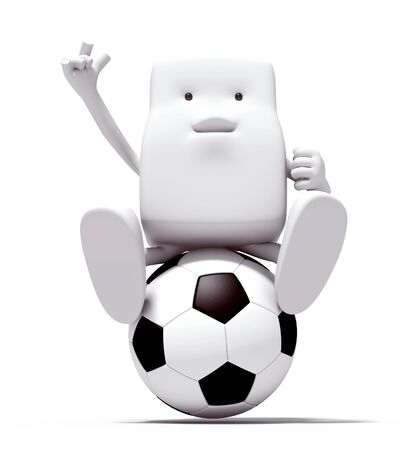 3d character person of play soccer on a white background. Isolated Stock Photo - 12507891