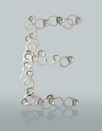 factitious: 3D Ring Pull Of Cans symbol creative concept idea artificial leg alphabet on background