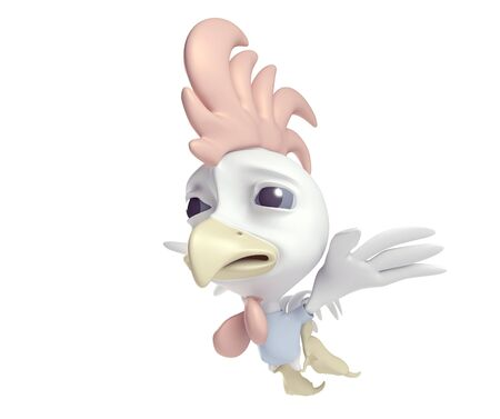 3D model chicken cartoon fly on a white background  photo