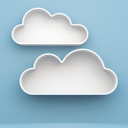 estanterias: Estantes 3D Nube y dise�o estante en el fondo Foto de archivo