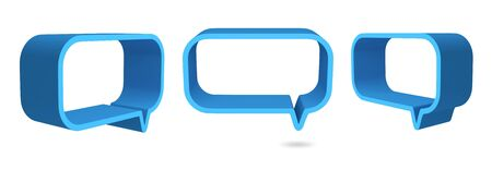 3D Square bubbles speech blue color, design element  isolated  photo