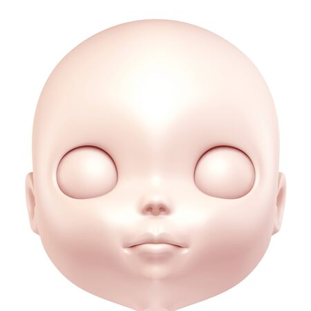 3D face of doll close up  isolated  photo