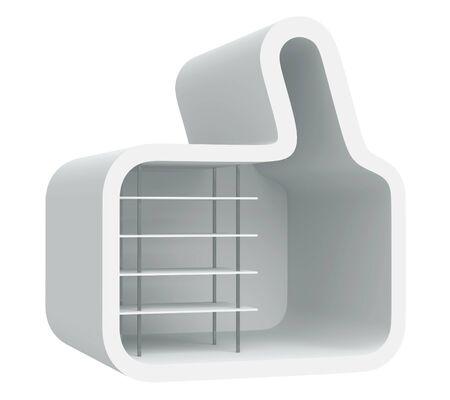 3D shelves design form   like   on background, isolated  photo