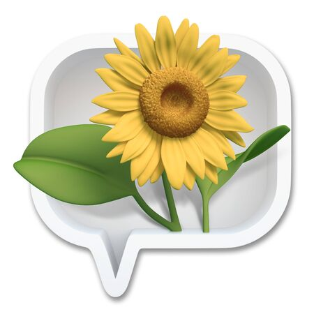 3D sunflower in square bubbles speech, design element  isolated photo