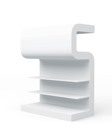 3D shelves and shelf   S Design   on a white background  Isolated  photo
