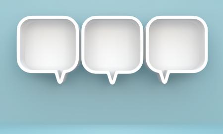 3D shelves design form   bubbles speech   on background