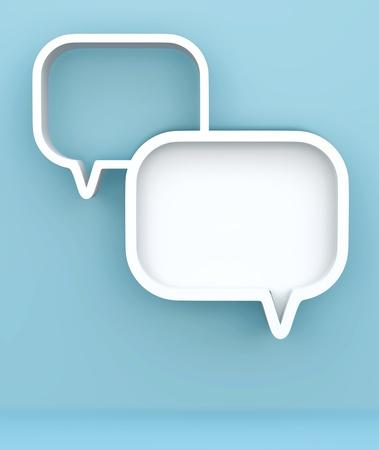 chat room: 3D shelves design form   bubbles speech   on background Stock Photo