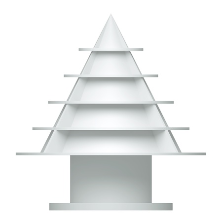 3d christmas tree shelves and shelf design on a white background stock photo picture and royalty free image image 14932007