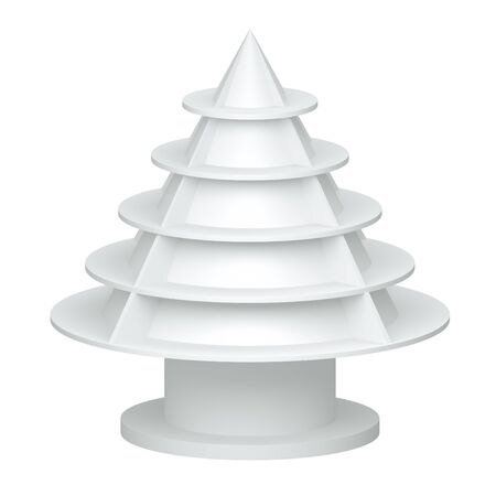 3D Christmas tree shelves and shelf design on a white background  isolated  photo