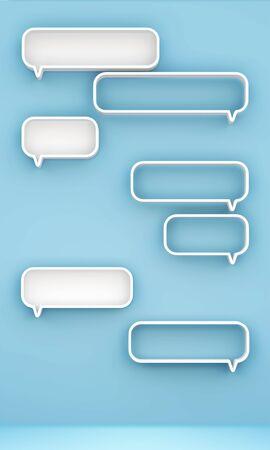 chat room: 3D shelves design form   bubbles speech   on background